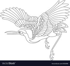 Oriental stork bird tattoo vector image on VectorStock Japanese Prints, Japanese Art, Crane Tattoo, Tattoo Bird, Stork Bird, Bird Outline, Adobe Illustrator, Crane Bird, Chinese Patterns