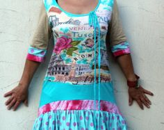 Summer romantic dress tunic recycled