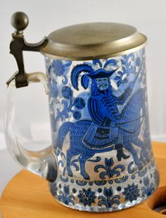 German Glass Beer Stein by WhositsandWhatnots on Etsy,