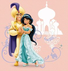 Jasmine and Aladdin Walt Disney, Disney Wiki, Disney Couples, Disney Magic, Disney Characters, Disney Princesses, Disney Movies, Disney Princess Jasmine, Aladdin And Jasmine