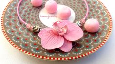 #pink #pinknecklace #orchid #flowers #flowernecklace