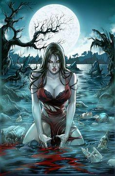 Grimm Fairy Tales' Werewolves - The Hunger by Krome Art Dark Fantasy Art, Fantasy Girl, Fantasy Art Women, Fantasy Kunst, Fantasy Artwork, Dark Art, Art Vampire, Vampire Girls, Werewolf Girl