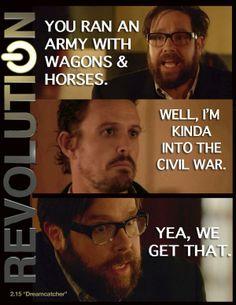 Revolution - Aaron & Monroe #2.15 #Season2. Best line in the whole show!