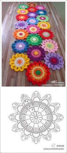 Crochet table runner diagram charts doily patterns 29 ideas for 2019 Motif Mandala Crochet, Crochet Motifs, Crochet Flower Patterns, Crochet Diagram, Doily Patterns, Crochet Squares, Crochet Chart, Crochet Doilies, Crochet Flowers