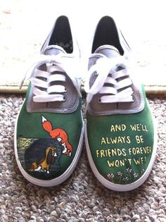 Fox and the Hound Inspired Shoes - so cute. this movie is so sad. Painted Canvas Shoes, Custom Painted Shoes, Hand Painted Shoes, Custom Shoes, Sock Shoes, Vans Shoes, Shoes Heels, Disney Shoes, Disney Outfits