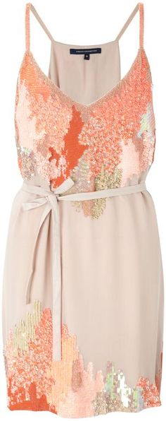 Coral sequin dress / French Connection