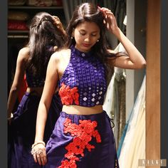 Floral Embroidery lehenga with Mirror embellished Crop top! Can there be anything more beautiful?