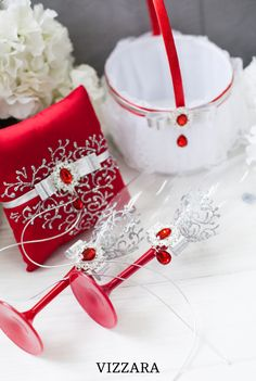 wedding day red weddings the red wedding red and silver wedding ring bearers pillows ring bearer pillows champagne glass champagne flute flower girls basket Purple Wedding Flowers, Red Wedding Dresses, Bridesmaid Dresses, Geek Wedding, Wedding Ring, Wedding Ideas, Wedding Bouquet, Wedding Ceremony, Silver Winter Wedding