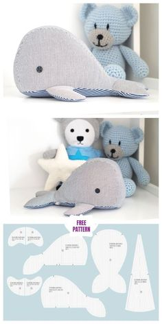 Stofftiere DIY Fabric Whale Plush Free Sewing Pattern - Small, Your Animal Sewing Patterns, Sewing Patterns Free, Free Sewing, Baby Bibs Patterns, Whale Pattern, Plush Pattern, Free Pattern, Sewing Stuffed Animals, Stuffed Animal Patterns