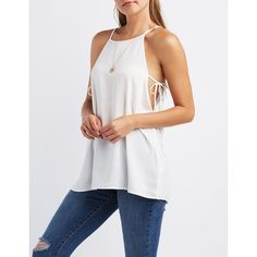 Charlotte Russe Bib Neck Trapeze Top ($17) ❤ liked on Polyvore featuring tops, white, swing top, cut out top, white swing top, cut-out tops and white sleeveless top