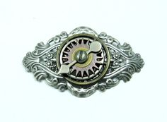 Steampunk Pin Antique Brass Finish Winged Gear Bar Pin Accessory