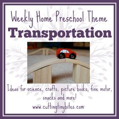 Weekly Home Preschool Transportation Theme- ideas for crafts, gross motor, fine motor, science, picture books and more.  Plenty of easy ideas for one week of home preschool.