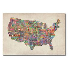 """""""US Cities Text Map"""" by Michael Tompsett Graphic Art on Canvas"""