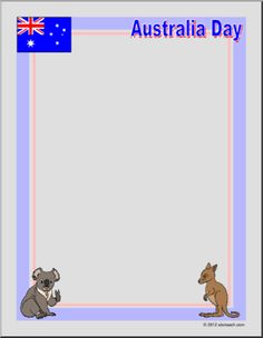 Border Paper: Australia Day (color) - Border paper celebrating Australia Day, January with an Australian flag, a koala and a kangaroo.
