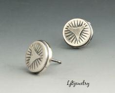 Silver Stud Earrings, Hand Stamped Stud Earrings, Sterling Silver, Metalsmith Jewelry, Handmade by LjBjewelry on Etsy