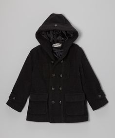 Charcoal Hooded Peacoat - Toddler & Boys by Fouger