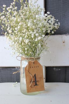 1 antique table number . rustic woodland tag . kraft paper table number centerpiece . stained number