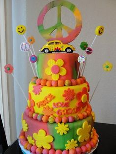 1960's Flower Power Cake  Cake by Susan
