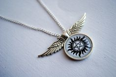Anti-Possession Winged Pendant -- Supernatural Necklace -- Winchesters -- Angel Wings -- Castiel -- Handmade -- Fandom Fashions