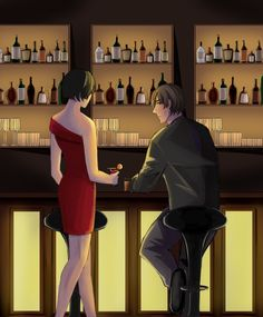 """""""""""Care for a drink, handsome? Ada Resident Evil, Resident Evil Anime, Albert Wesker, Leon S Kennedy, Devil May Cry 4, Ada Wong, Awesome Games, Evil World, Scary Art"""
