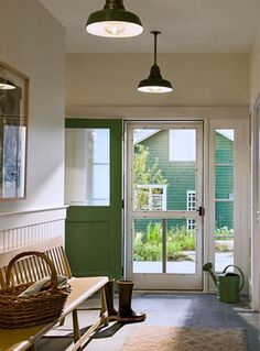Pendant lights + bench + slate floor = entryway inspiration | New England Farmhouse