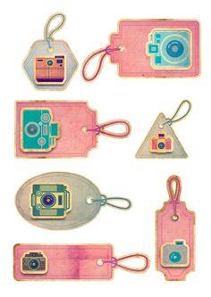 Nuskina: Etiquetas retro con cámaras fotográficas gratis para manualidades, scrapbooking, collage...