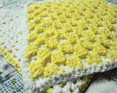 Thick Crochet Cotton Dishcloth Washcloth Bath Shower Scrubbie Yellow White Set of 2