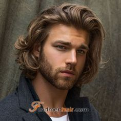 Medium Length Blonde Wavy Men's Hairstyle Top Quality 100% Human Hair Wig