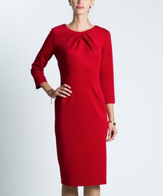 Another great find on #zulily! Red Pleat-Neck Long Sheath Dress #zulilyfinds