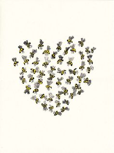 Original drawing. Detailed drawing of honey bees forming a heart shape. I use high quality inks and gouache on heavy weight archival paper    11 X
