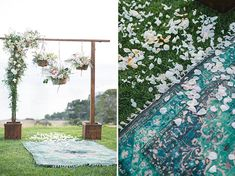 Hanging florals ceremony arch + petal-covered rug aisle