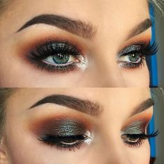 Smokey eye with red cut crease