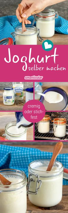 Joghurt einfach selber machen Stingfast or creamy yoghurt can be easily made with this method – without a yoghurt machine. Healthy Eating Tips, Healthy Nutrition, Clean Eating, Yogurt Maker, Vegetable Drinks, Mets, Calories, Baking Ingredients, Diy Food