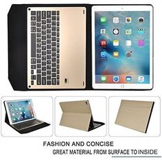 ipad pro case ivso 12.9 keyboard case ultra thin high quality case gold