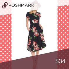 Coral Floral Midi Dress Coral Floral Midi Dress with Pockets and cinched waist, gives great shape. Measurements laying flat on one side Bust S 17 M 18 L 19 Length S-L 44. Please select the 'Buy Now' option to purchase and it will give you available sizes. BUNDLE and save 10% no trades; price is firm unless bundled). Dresses Midi