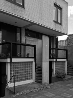 """""""When I designed Winscombe Street I had no idea it would be followed by such projects. I designed paved terraces, stained softwood windows with sliding frames, timber balustrades with mesh infill, sliding doors and kitchens with tiled worktops looking integral with the house, a part of its primary architecture. The same elements, modified to the different circumstances, have been repeated throughout the three schemes."""" - Neave Brown on Winscombe's influence on Fleet and Alexandra Roads"""