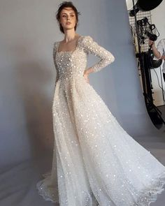 Dreaming sparkle wedding dress Dress by Spina Bride Long Wedding Dresses, Princess Wedding Dresses, Wedding Dress Sleeves, Bridal Dresses, Chanel Wedding Dress, 50s Wedding, Wedding Veil, Wedding Ideas, Engagement Dresses