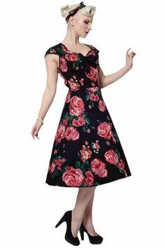 Black and Pink Rose Isabella Dress : Lady Vintage