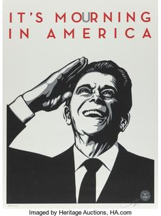 "Entitled ""It's mourning in America"", this screen print by Shepard Fairey (Obey) is an edition of Made in may it is signed and numbered by the artist. Format : 18 x 24 inches x 61 cm). The work is sold unframed. Barbara Kruger, Diego Rivera, Andy Warhol, Shepard Fairey Obey, America Images, The Future Is Now, Art Graphique, Screen Printing, Artist"