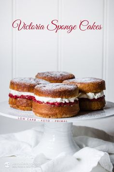 Low-Carb Victoria Sponge Cakes KETO 1 cups almond flour g/ oz) cup granulated Swerve or Erythritol g/ oz) 1 tsp gluten-free baking powder tsp sea salt 4 large eggs 100 g cream cheese, softened oz) butter, softened g/ 2 oz) 1 tsp sugar-free vanilla extract Low Carb Sweets, Low Carb Desserts, Low Carb Recipes, Primal Recipes, Healthy Desserts, Victoria Cakes, Victoria Sponge Cake, Keto Cake, Low Carb Keto