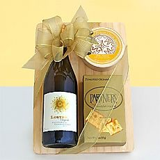 Wine and Cheese Board - A bottle of fine wine and tasty cheese, presented on a stylish cheeseboard; add a nice crystal wine stopper Gift Baskets For Men, Themed Gift Baskets, Raffle Baskets, Silent Auction Baskets, Chocolate Gift Boxes, Teen Girl Gifts, Client Gifts, Spa Gifts, Wine Stoppers