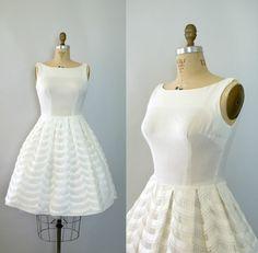 linen wedding dresses | ... 1960s Wedding Dress - White Linen and Lace Cupcake Wedding Dress