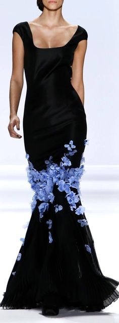 Runway gown in black with blue accents...