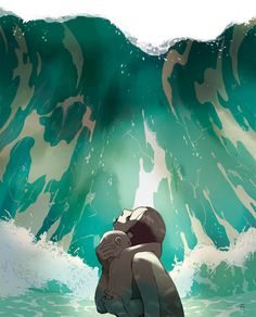 """Swallowed By The Sea: Illustration by Tomer Hanuka for Newsweek. """"As Japan reels from the tsunami, archeologists claim to have discovered the lost city of Atlantis, a fabled place built—like much of. Tomer Hanuka, Art And Illustration, Pop Art, Ligne Claire, Inspiration Art, Art Graphique, Art Design, Floral Design, Graphic Design"""