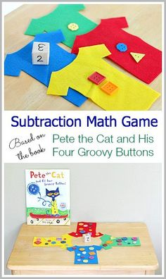 Subtraction Math Game for preschool, kindergarten, and grade. Based on the children's book, Pete the Cat and His Four Groovy Buttons (w/ free printable template)~ Buggy and Buddy Math Games For Kids, Fun Math, Preschool Activities, Preschool Kindergarten, Book Activities, Maths, Math Stations, Math Centers, Math Subtraction