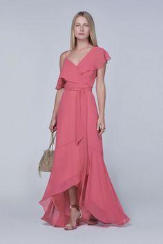 vestido longo com babado, vestido casual, convidada de casamento diurno