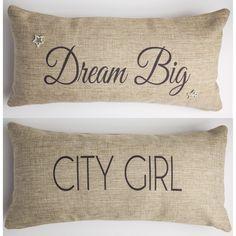 Motivational dream big-city girl pillow
