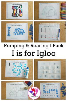 Free Romping & Roaring I Pack: Letter I is for Igloo - a letter I pack that has prewriting, finding letters, tracing letters, coloring pages, shapes, puzzles and more - 3Dinosaurs.com #rompingroaring #3dinosaurs #abcpacks #letteri #preschool #prek #kindergarten #freeprintable #freeletterpack Letter Maze, Letter I, Dot Letters, Tracing Letters, Pre Writing, Writing Practice, Free Coloring Pages, Printable Coloring Pages, Lacing Cards