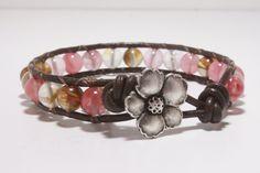 Pink Earthy Beaded Wrap Bracelet, Leather Wrap Bracelet.