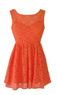orange lace dress | Orange Lace Open Back Dress